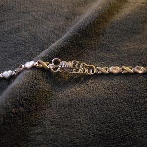 Gold over silver i love you bracelet